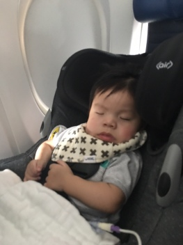 Planes seem to make Emmett sleepy. Hope it stays that way!