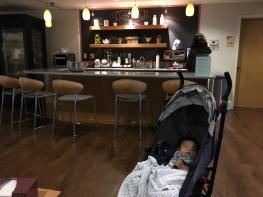 Baby at the bistro (in Children's Inn).